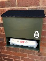 Milkman Friendly Milksafe for 4 @ 1-pint glass bottles, Bottles hidden, Wall Hung, in Somerset Green - the shelf can also carry 12 @ eggs (for example) on occasion